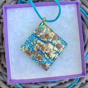 Blue & Gold Murano Glass Necklace Made in Italy